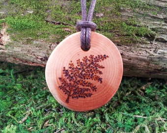 Frond: Fern necklace pyrographed wood pendant on waxed cotton cord
