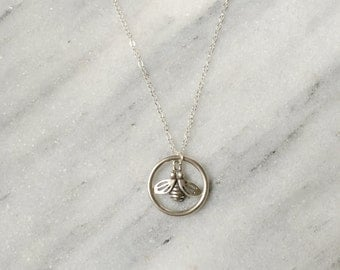 Sterling Silver Bee Circle Necklace. Honey Bee Necklace. All Sterling Silver.