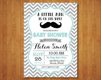 Little Man Mustache Baby Shower Invitation. Boy Baby Shower Invitation. Gray Chevron. Aqua Red Blue Lime Green Navy. Printable Digital.
