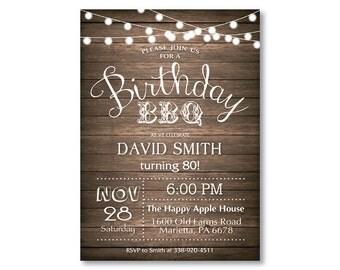 Birthday BBQ Invitation. 80th Birthday Invitation. 30th 40th 50th 60th 70th 90th Any Age. Adult Birthday. Rustic Wood. Printable Digital.