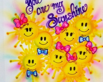 Grandma gift, Gift for Pap, Sun faces, airbrush t shirt, Your are my Sunshine, personlaized t shirt, custom tees, personalized gifts