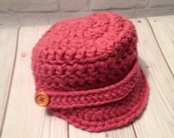 Crochet Newsboy Hat - Newsboy Cap - Baseball Hat - Child's Hat - Newsboy Hat -News Boy Hat - Rose Hat - Birthday Gift - Warm Hat