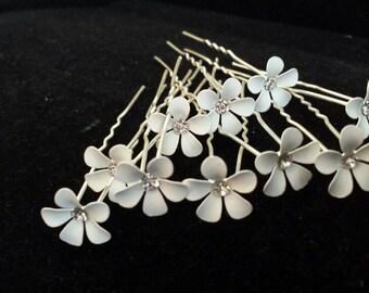 SET OF 10 - White Little Flower Hair Pins, Bridal Hair Accessories