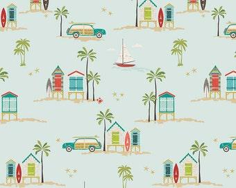 Offshore Main Aqua by Riley Blake Designs - Beach House Palm Tree Car - Quilting Cotton Fabric - fat quarter