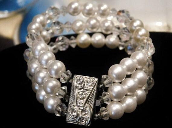 Vintage Bracelet Mid Century Triple Strand Faux Pearls Beads AB Rhinestone Bracelet Art Deco Revival Box Clasp Wedding Bride Bridal Jewelry