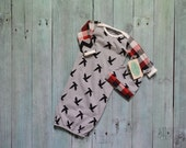 Newborn Boy Coming Home Gown Gray Birds Red Black Plaid Chevron, Knot Hat, Take Home Outfit Set