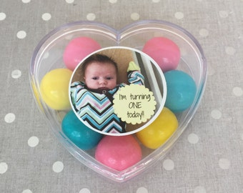 Party Favor Boxes - Heart-Shaped with Photo and Custom Text for Birthdays, Weddings and Special Events  (12 PCS)