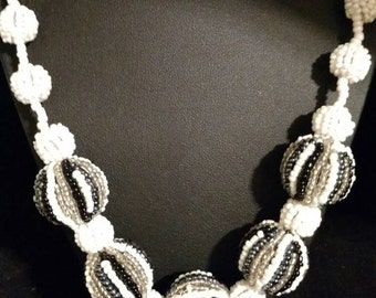 CLEARANCE * Black, White and Grey Seed Bead Necklace.