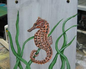seahorse painting beach decor nautical