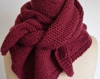 Bordeaux shawl knitted by hand