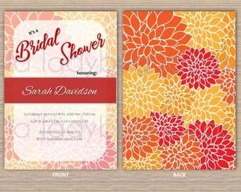 Orange Dahlia Printable Bridal Shower Invitation, Digital Bridal Shower Invitation, Wedding Invitation