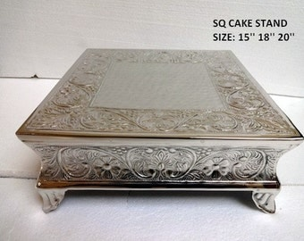 """Embossed Cake Plateau-Round or Square Cake Stand - Silver-18"""" only"""