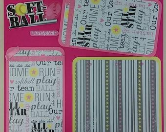 12x12 Premade Scrapbook Page-Softball-Pink