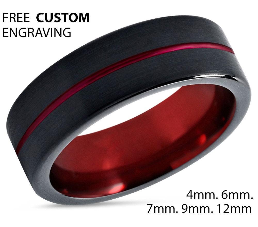 Tungsten Ring Mens Black Red Wedding Band Ring Tungsten