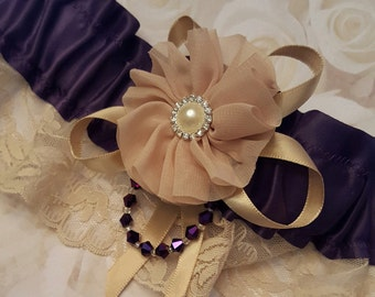 Eggplant and Tan Wedding Garter,Merlot and Beige Garter,Deep Plum and Tan Garter,Eggplant and Latte Garter,Deep Purple Garter,Taupe Garter