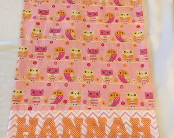 Girls Owl personalized pillowcase, flannel pink pillowcase, personalized pillowcase, custom pillowcase, custom pillow, birthday gift
