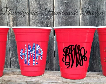 Red Double Wall Solo Type Cup, Reusable Cup, Tailgate Party Cup, 16 oz Solo Cup, Monogrammed Cup, Solo Cup with Name, Personalized Cup