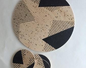 MEMPHIS geometric trivet black and white abstract large coaster centerpiece /plant tray/ geometric tray/ wood coaster/ 80s /modern decor
