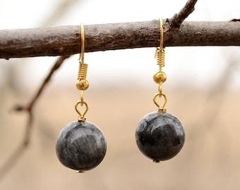 Larvikite earrings, Gold plated larvikite earrings, Larvikite gold plated earrings, Gold earrings larvikite, Larvikite drop earrings.