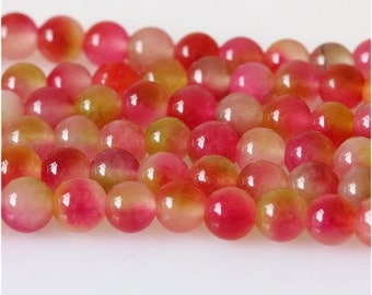 B24 Watermelon Chalcedony Beads, Full Strand 6mm Red Chalcedony Gemstone Beads for Jewelry Making