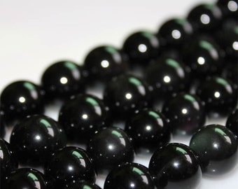 B27 Natural Black Obsidian Beads, Round Black Gemstone Beads, Full Strand 4 6 8 10 12 14 16 18 20mm Gemstone Beads for Jewelry Making