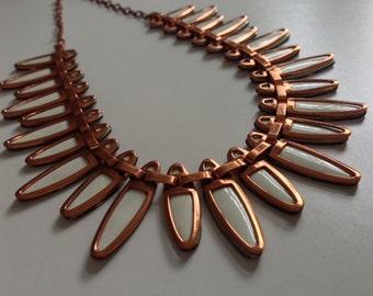 1950s Matisse Copper Nefertiti Necklace, White, Jerry Fels