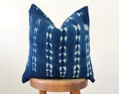 Authentic Vintage African Indigo Mudcloth Pillow