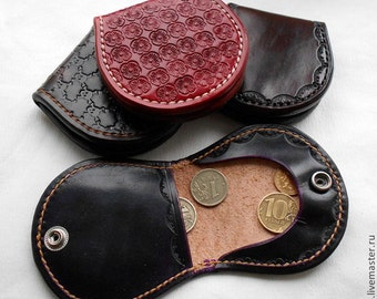 Pattern template Leather Coin Wallet, Leather Coin Purse, Leather Coin Tray, Leather Clam Purse, handmade