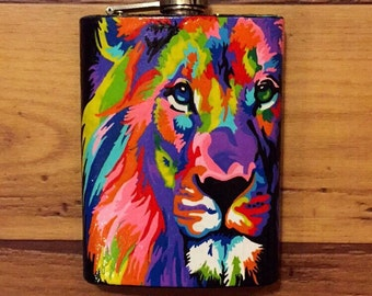 Custom hand painted flask, custom hip flask, hand painted flagon, hand painted stainless steel flask, hand painted decanter
