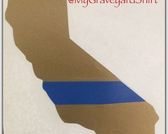 California Thin Blue Line Decal, Golden State Decal, Law Enforcement Decal, Police Car Decal Window Sticker Blue Lives Matter