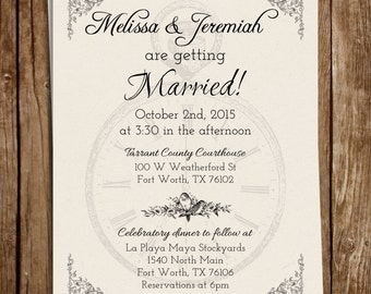 """Vintage """"It's About Time"""" Love Birds Wedding Invite 5x7"""