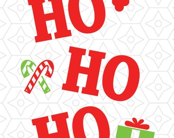 "Christmas ""Ho Ho Ho"" Decorative Decal, SVG, DXF and AI Vector files for use with Cricut or Silhouette Vinyl Cutting Machines"
