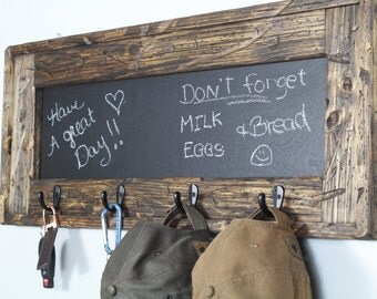 Rustic Chalkboard Key Holder, Hat Rack, Entry Decor, Rustic Chalkboard, Grocery List, Rustic Decor,