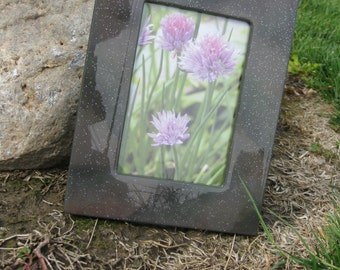 Table Top Picture Frame 4x6 Grey with Glitter Look