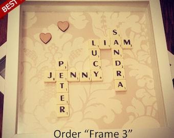 Scrabble Wall Art - Scrabble Frame Personalised Gift Custom Scrabble Letters Gift 3D Box Frame weddings engagements birthdays graduation