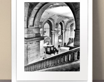 ARCHITECTURAL Paper Art Print Size A3 A2 A1 Stone Interior Photography Library Hotel Black White Stairs Vintage Antique Arches Pillars