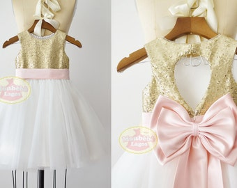 Gold Sequin Ivory Tulle Flower Girl Dress Junior Bridesmaid Wedding Party Dress/Pink BeltF0081