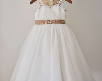 Thin Straps Sweetheart Neckline Beaded Ivory Tulle Flower Girl Dress Junior Bridesmaid Wedding Party Dress F00116