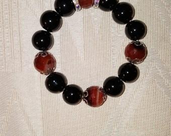 Black and Cinnamon Beaded Bracelet