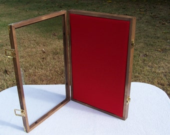 """12x18x2 display case wall mount locking for arrowheads artifacts beads bullets awards, medals, badges small items up to 1"""" thick"""