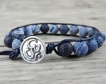 Leather Wrap bracelet Navy Agate beads bracelet Gypsy Single Wrap bracelet Boho bead bracelet Beaded Yoga wrap bracelet Jewelry SL-0123