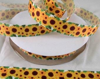 "7/8"" Cute Grosgrain Ribbon By The Yard, Belt Ribbon, Sunflower Grosgrain, Key Fob Ribbon, Craft Supplies, Lanyard Ribbon, Party Decor Ribbon"