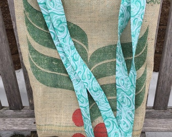 Burlap Coffee Bag Tote - Teal and White Swirl Fabric