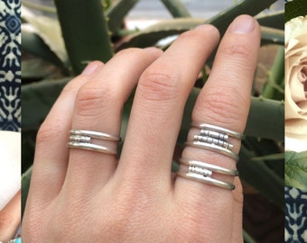 Bambusa Rings - Sterling Silver Double Band Stacker Ring