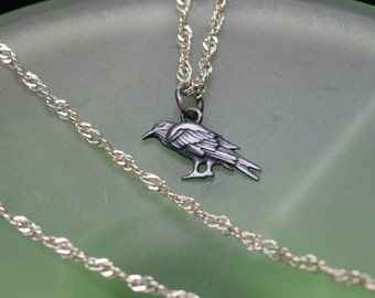 Oxidized Silver Raven Charm or Necklace. 925 Silver. Item 071.