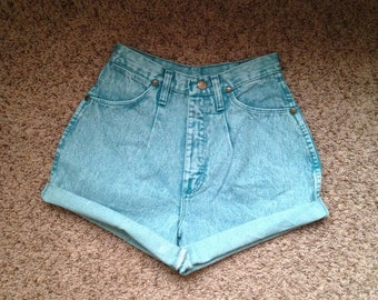 Wrangler Cut-Off Acid Wash Green Shorts Size 7