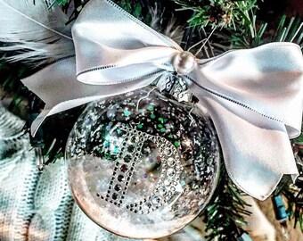 Custom monogrammed initial glass ornament