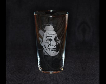 Morgan Freeman hand engraved beer pint glass by JayEngrave