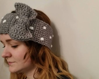 Dotty headband /earwarmer with decorative bow