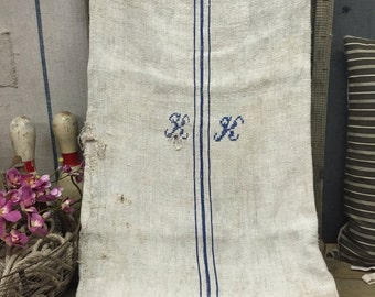 """Vintage French Grain Sack - 21""""x44"""" Classic French Blue Ticking Linen Hemp Hand Woven Feed Sack with Detailed Monogram - 6284"""